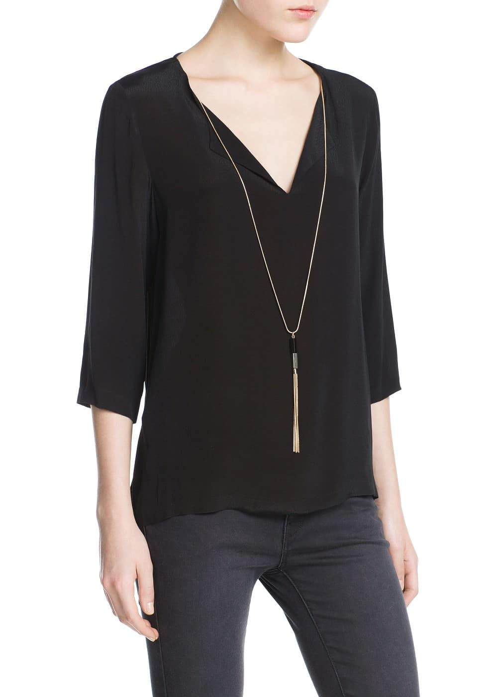 Necklace flowy blouse | MANGO