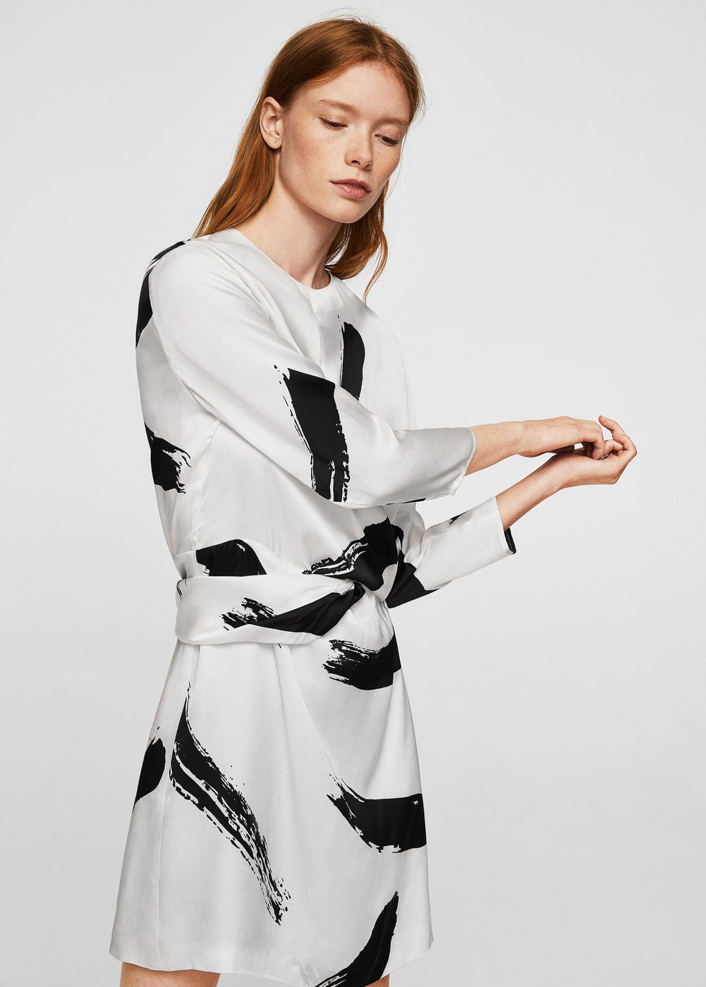 Contrast print dress | MANGO