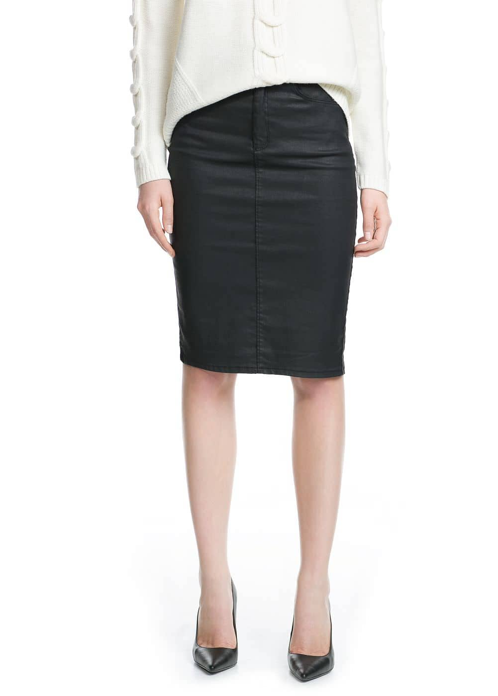 Coated denim skirt | MANGO