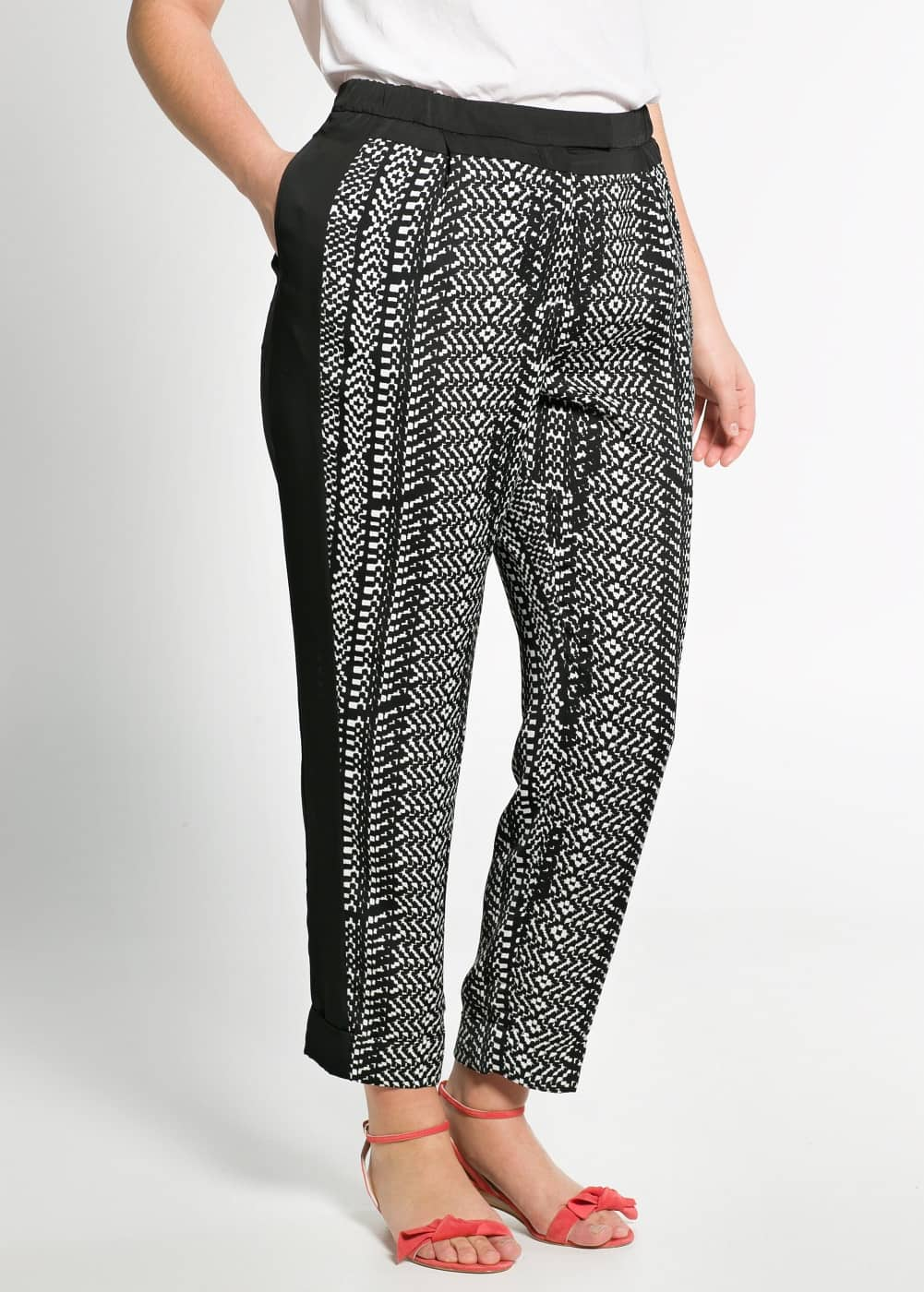 Monochrome baggy trousers | MANGO