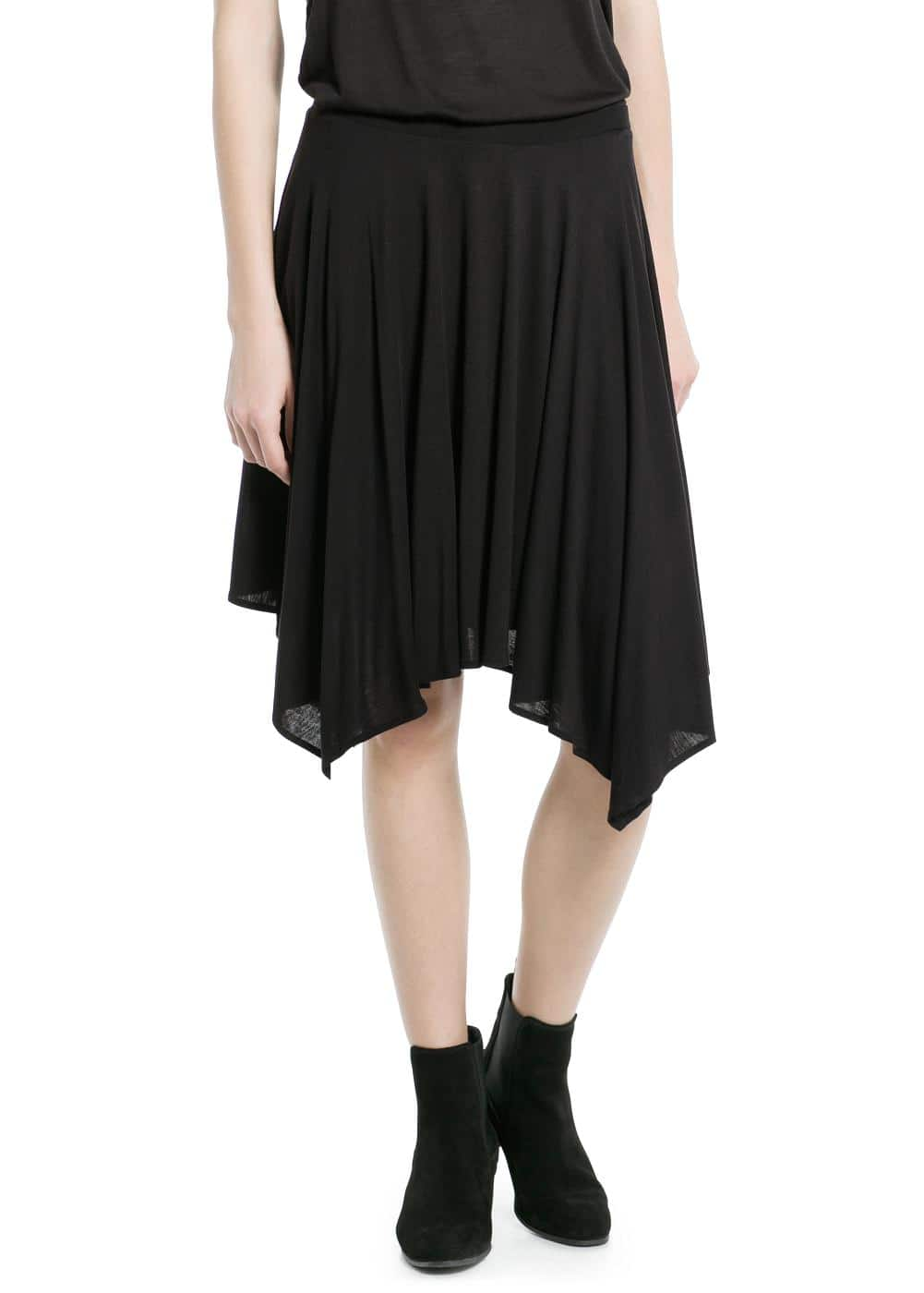 Asymmetric flared skirt | MANGO