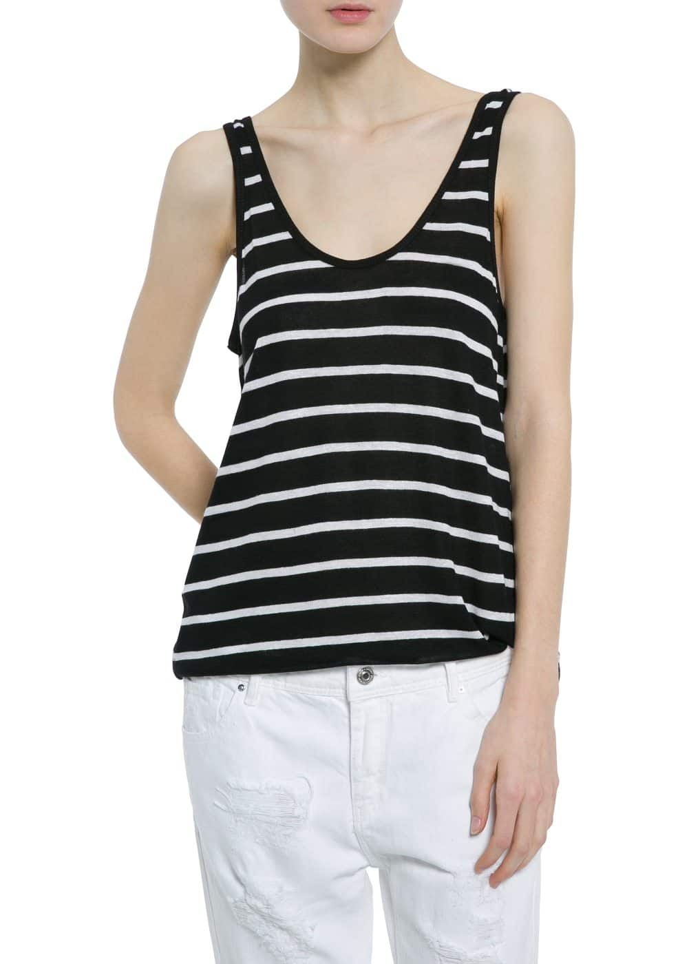 Striped linen-blend top | MANGO