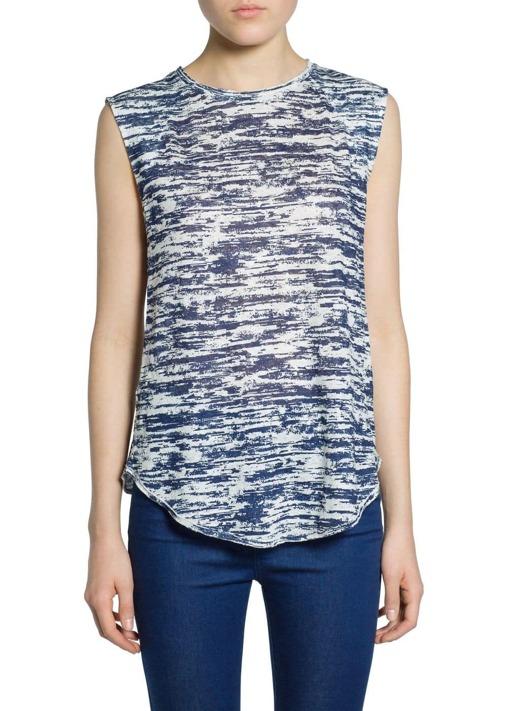 Printed linen top | MANGO