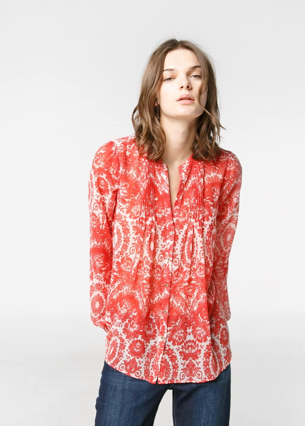 Bow printed blouse | MANGO