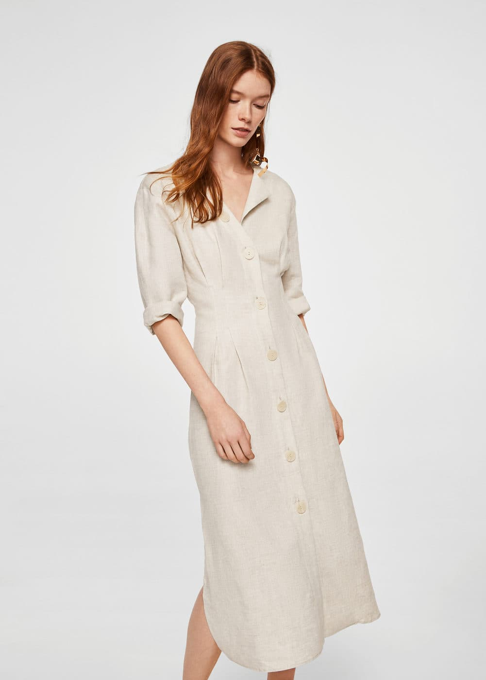 Linen-blend midi dress | MANGO
