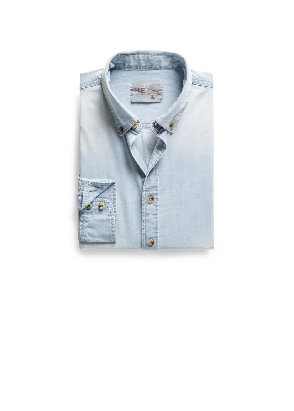 Camisa slim-fit denim bleach | MANGO MAN