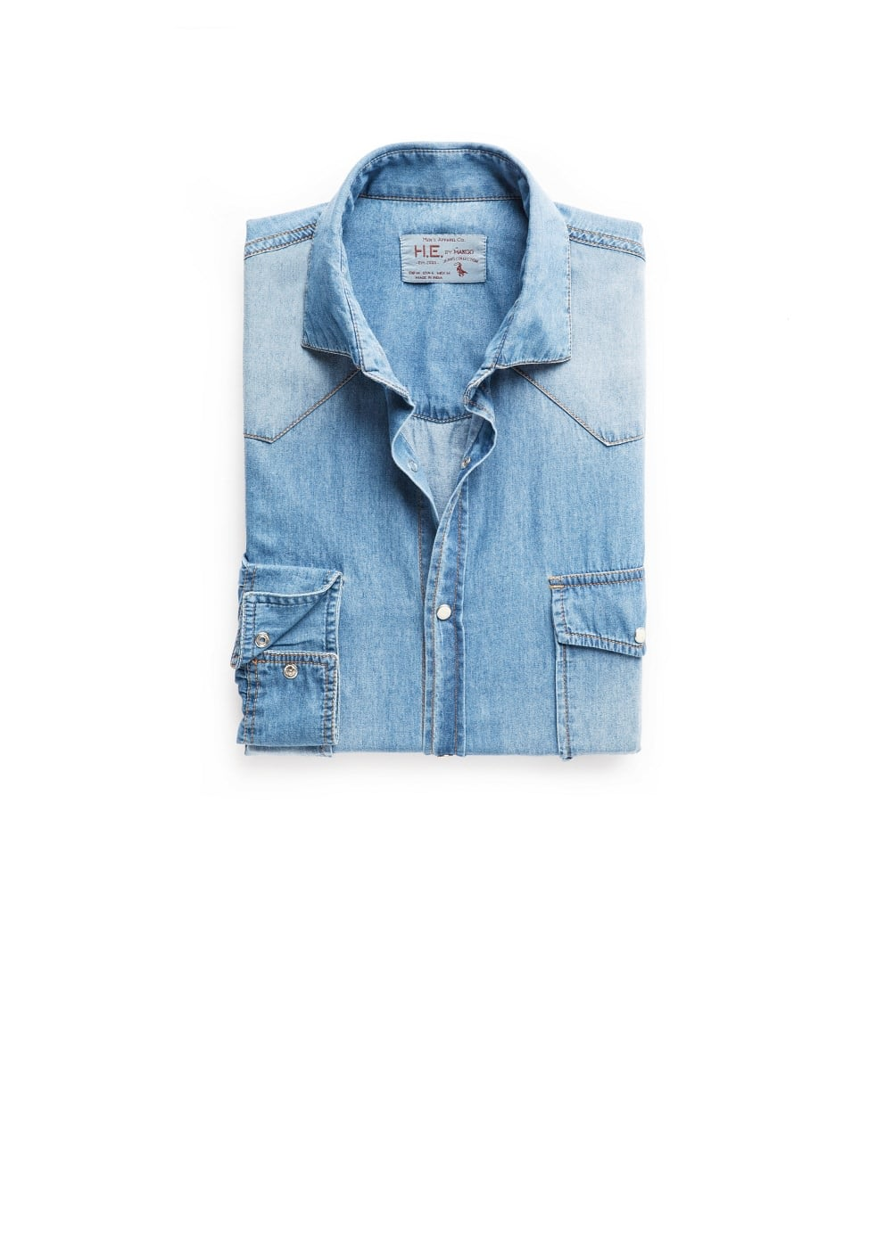 Classic-fit medium denim shirt | MANGO MAN