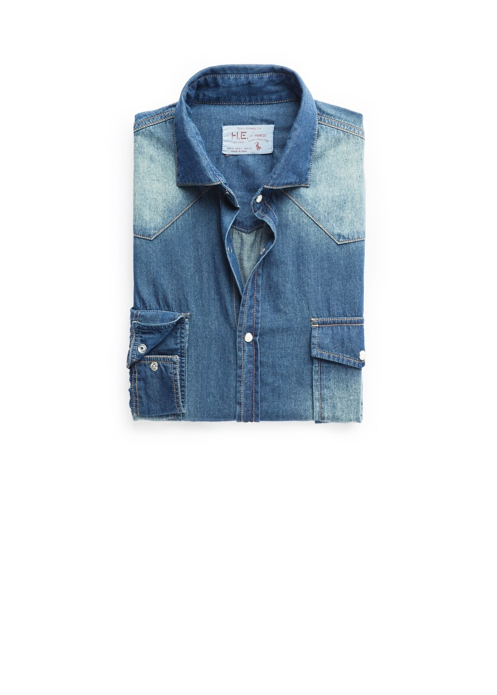 Classic-fit vintage denim shirt | MANGO MAN