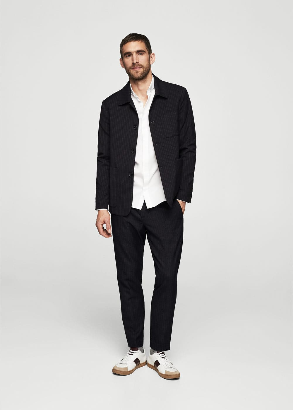 Pinstripe wool trousers | MANGO
