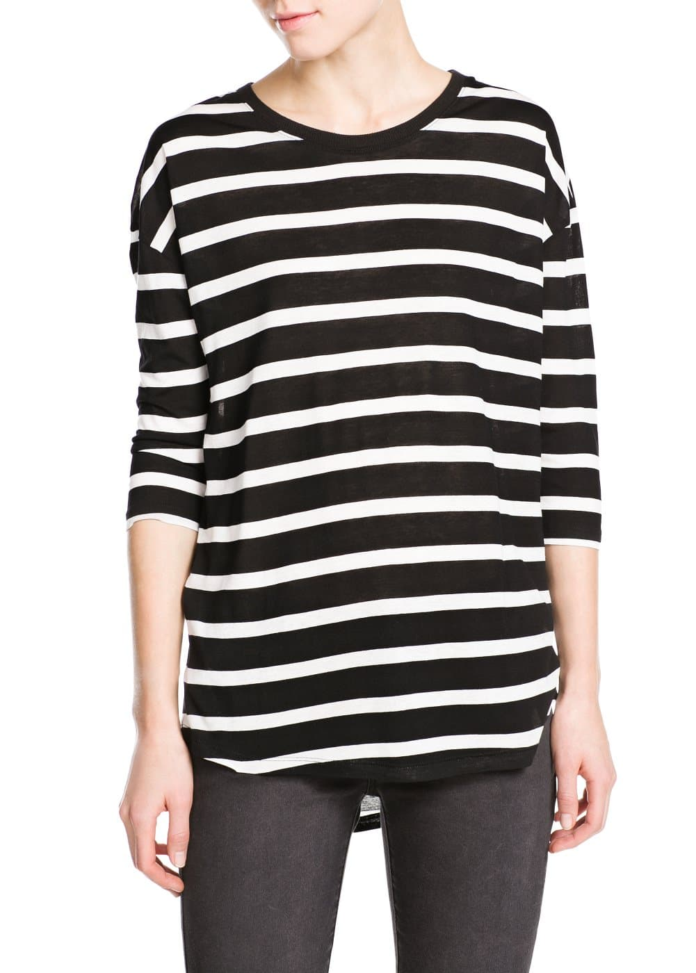 Striped flowy t-shirt | MANGO