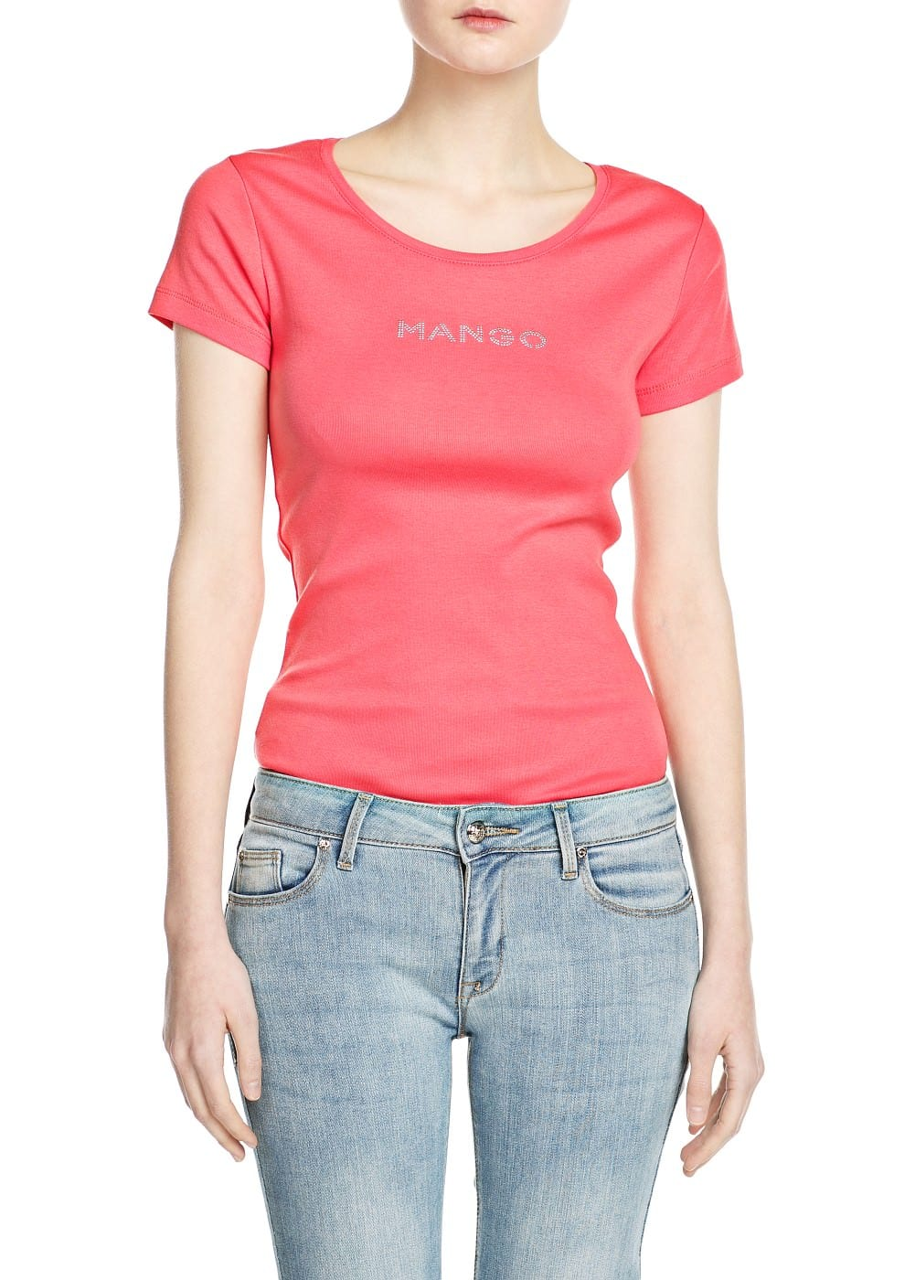 Metallic logo cotton t-shirt | MANGO