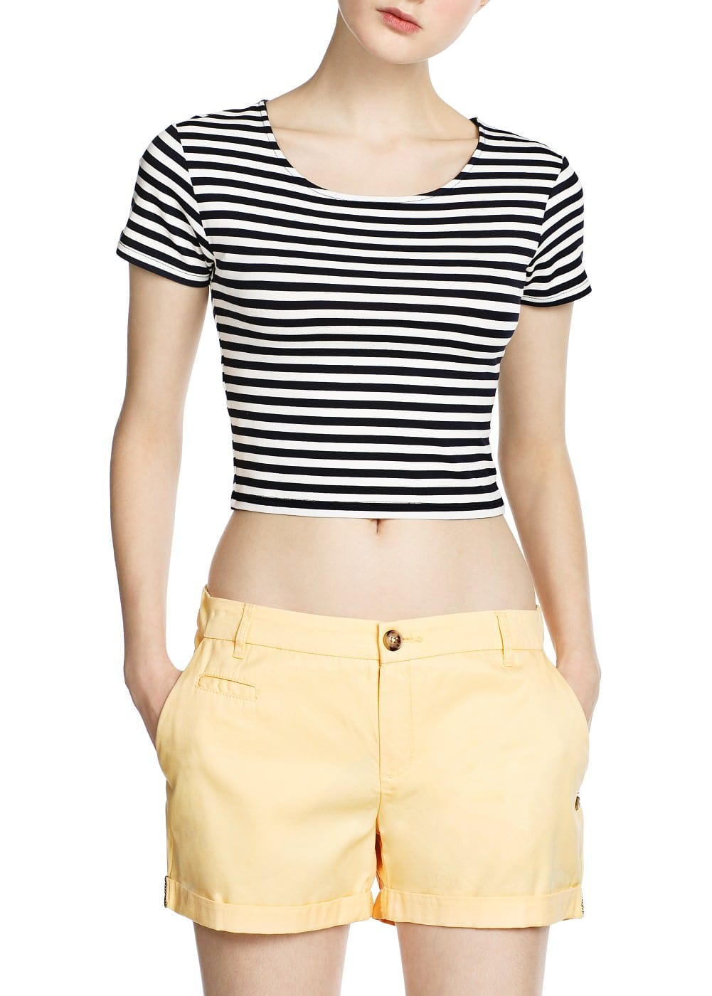 Striped cropped t-shirt | MANGO
