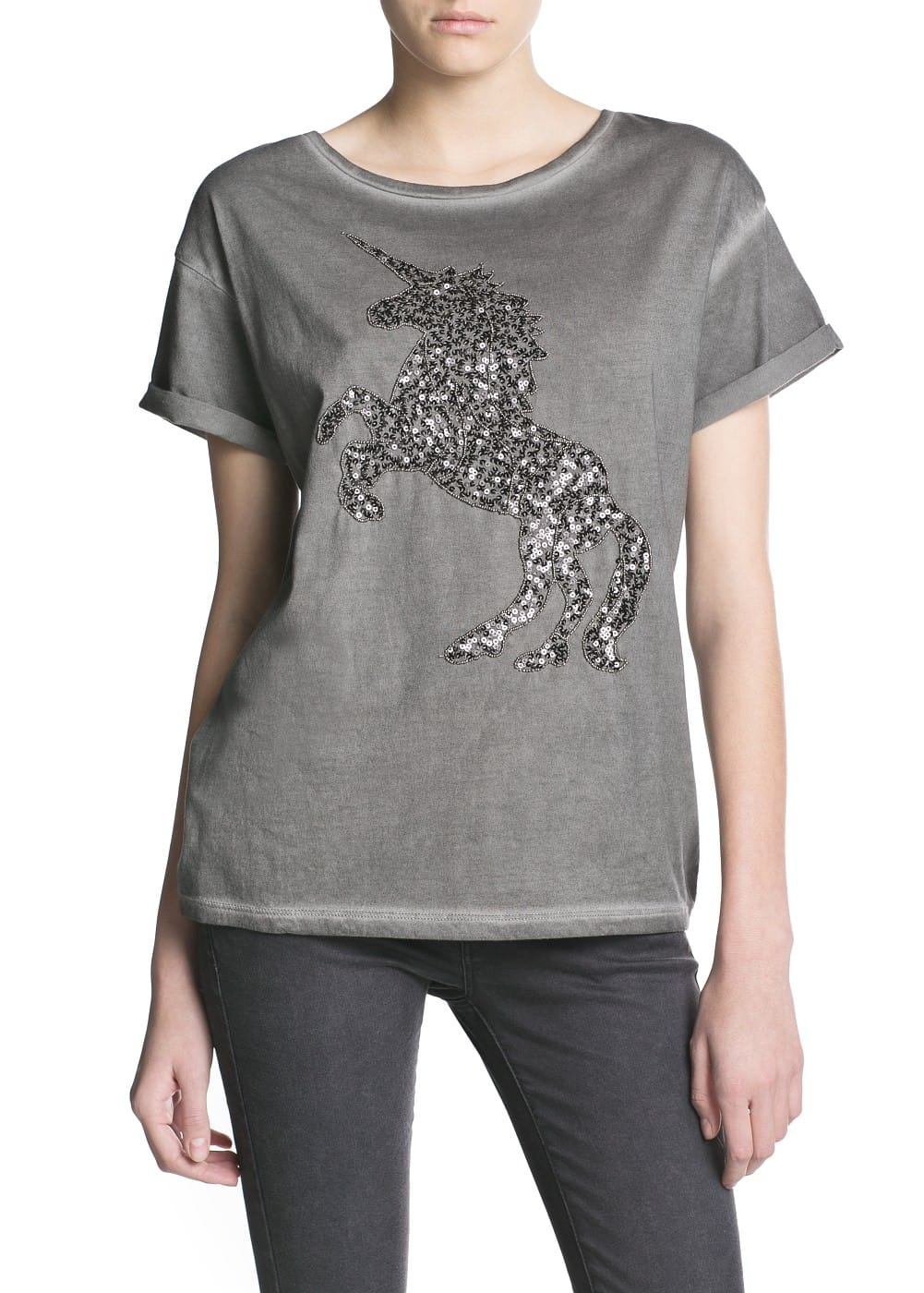 Sequin animal t-shirt | MANGO