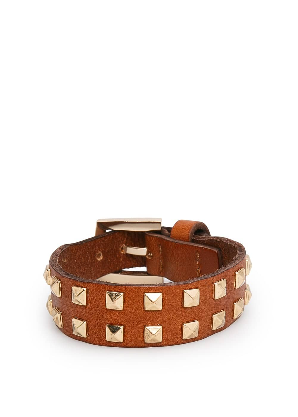 Studded leather cuff | MANGO