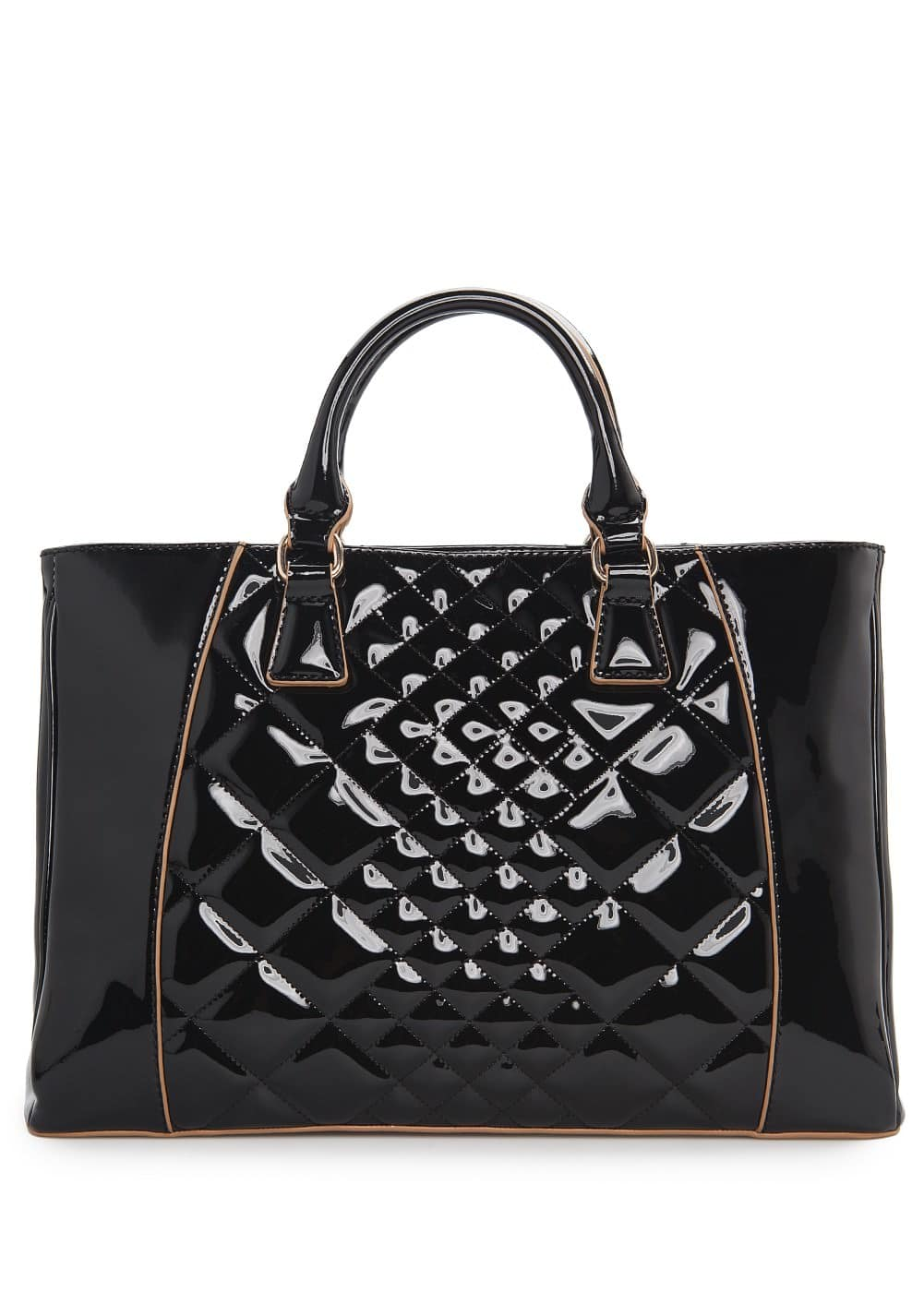 Quilted patent tote bag | MANGO