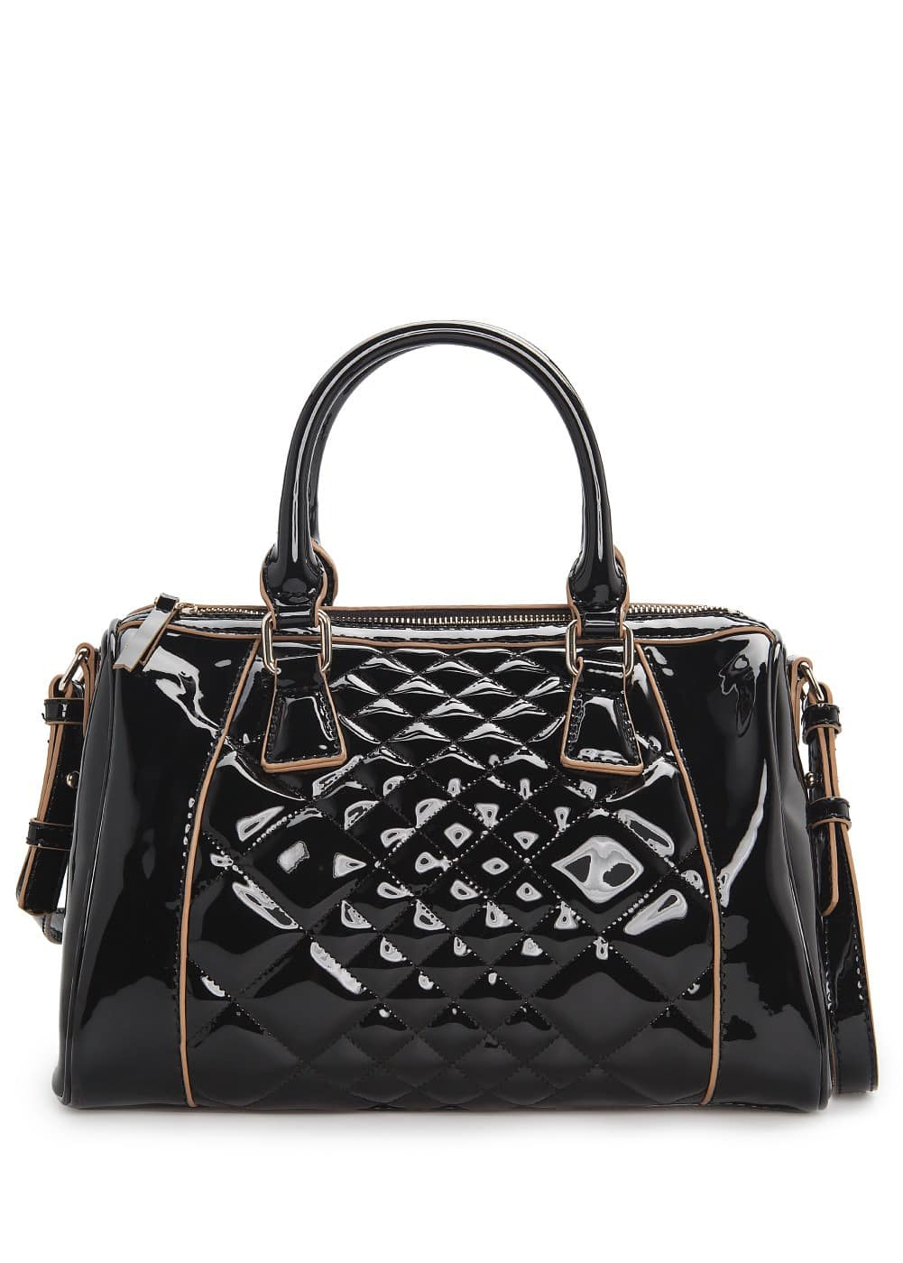 Quilted patent bowling bag | MANGO