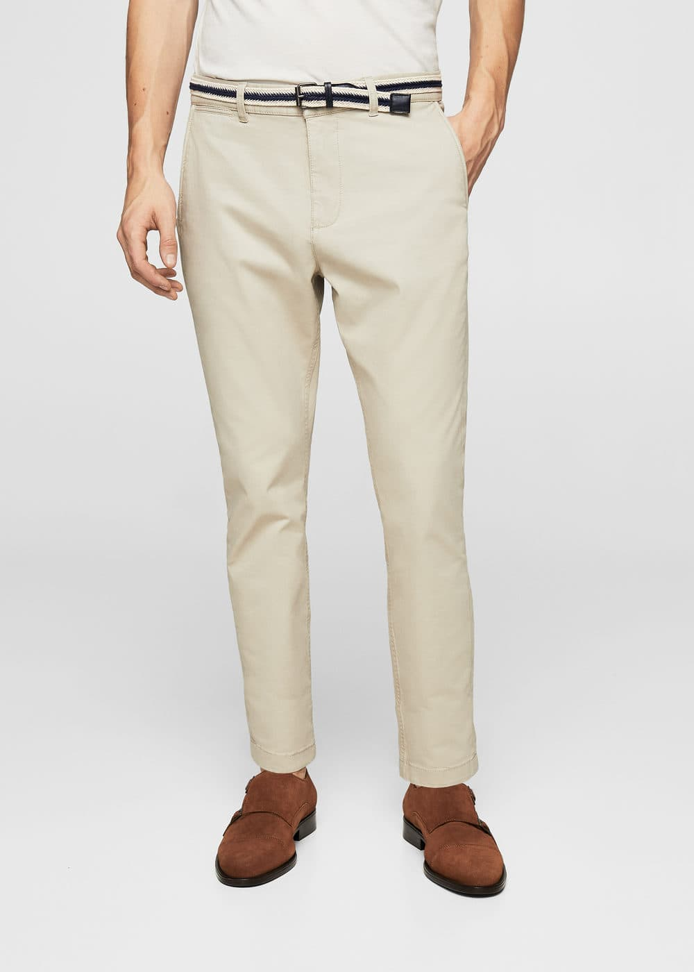 Belted cotton chinos | MANGO MAN