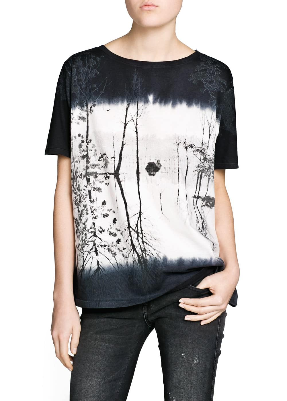 Faded landscape cotton t-shirt | MANGO