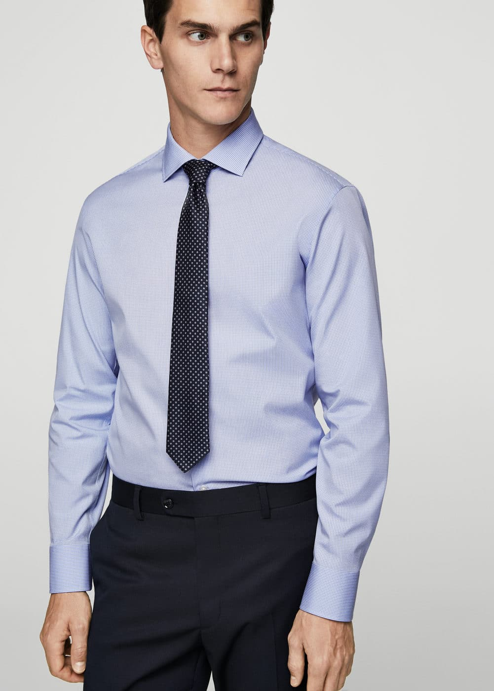 Slim-fit tailored check shirt | MANGO MAN