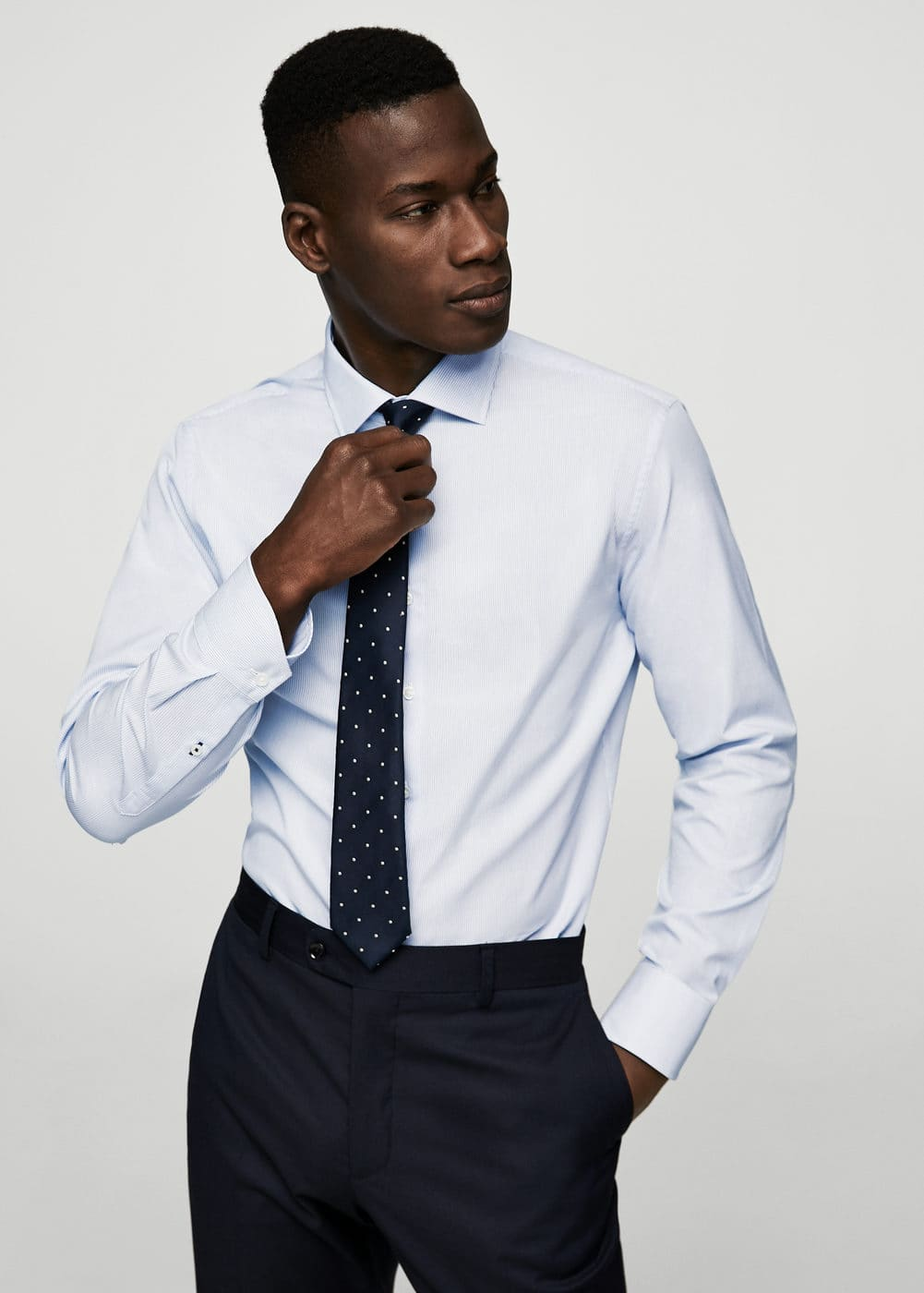 Slim-fit tailored bengal-stripe shirt | MANGO MAN