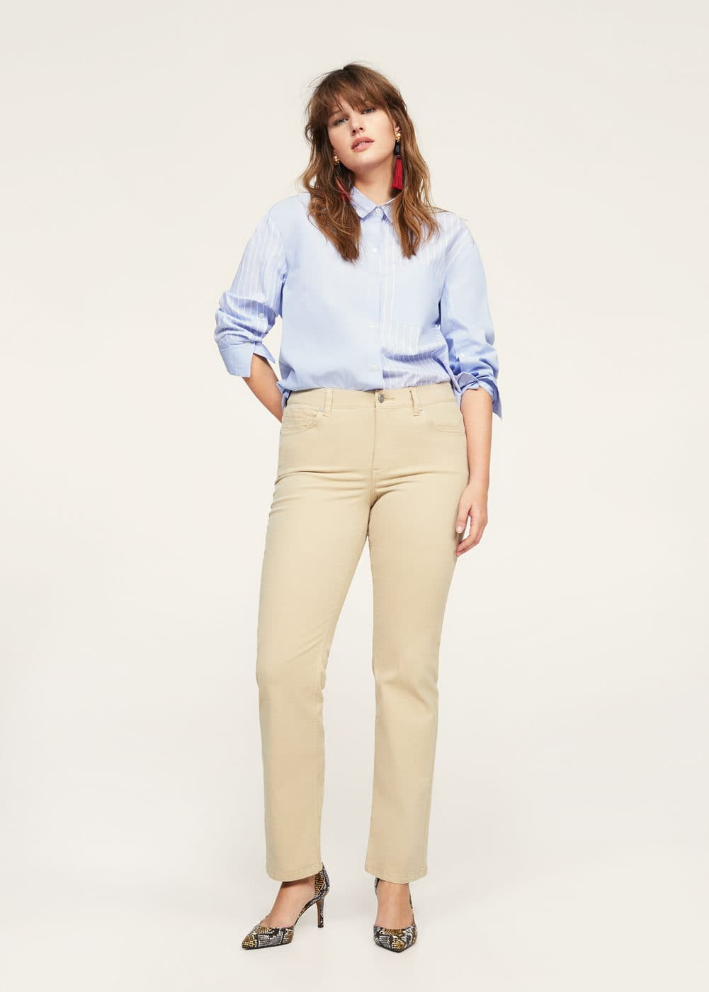 Straight-fit cotton pants | VIOLETA BY MANGO