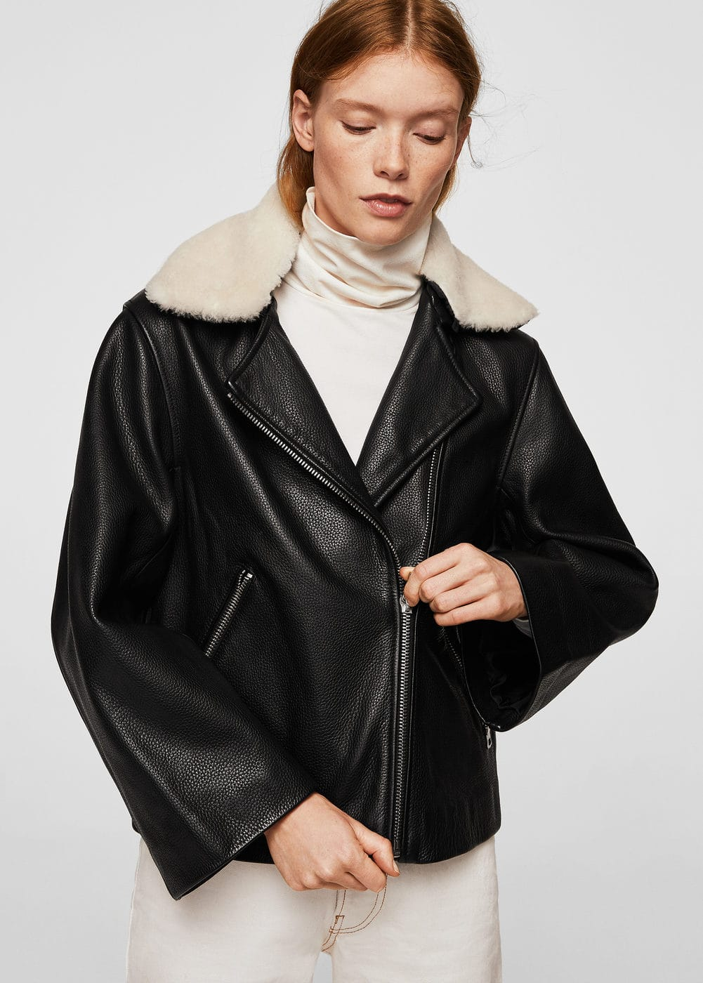Mixed leather biker jacket | MANGO