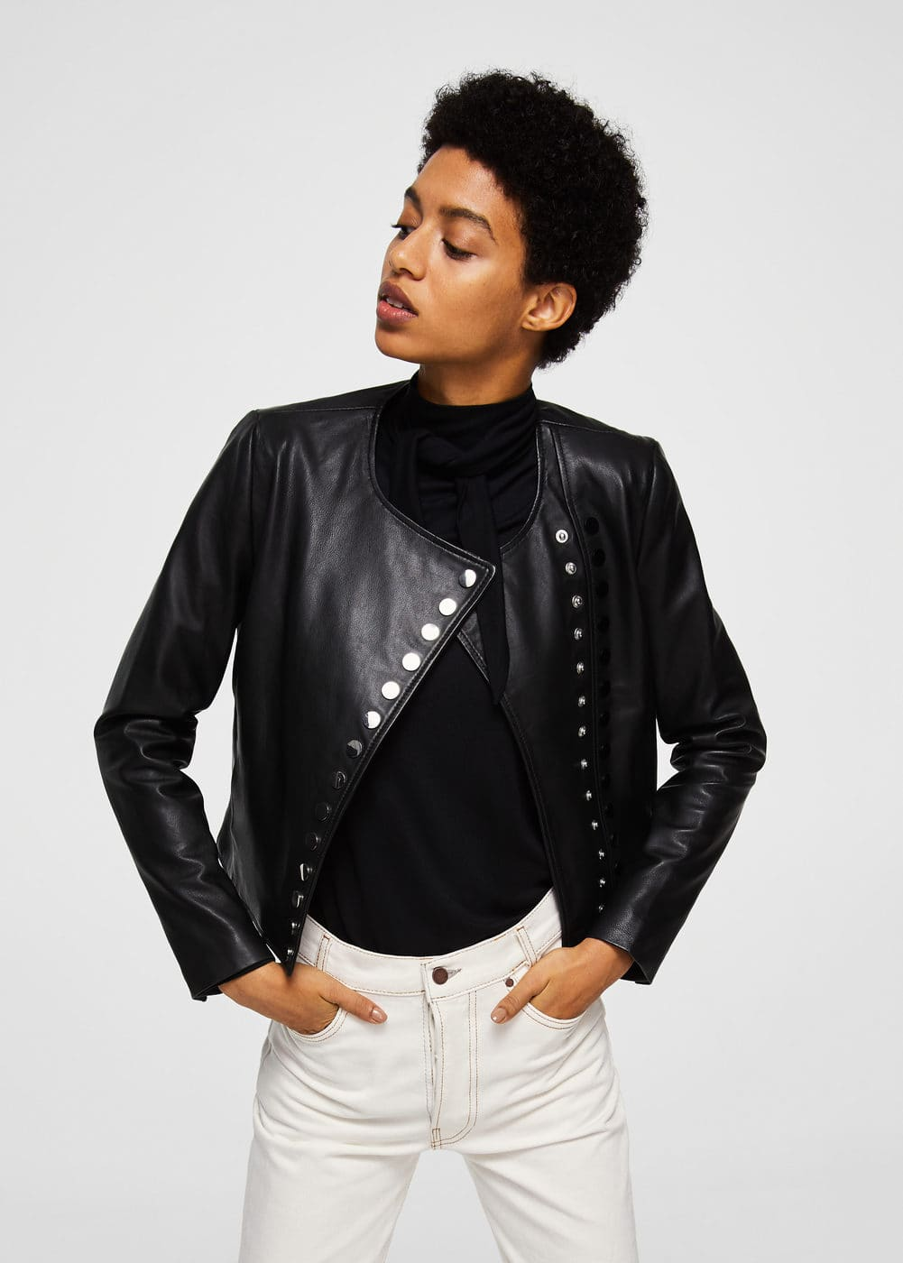 Buttoned leather jacket | MANGO