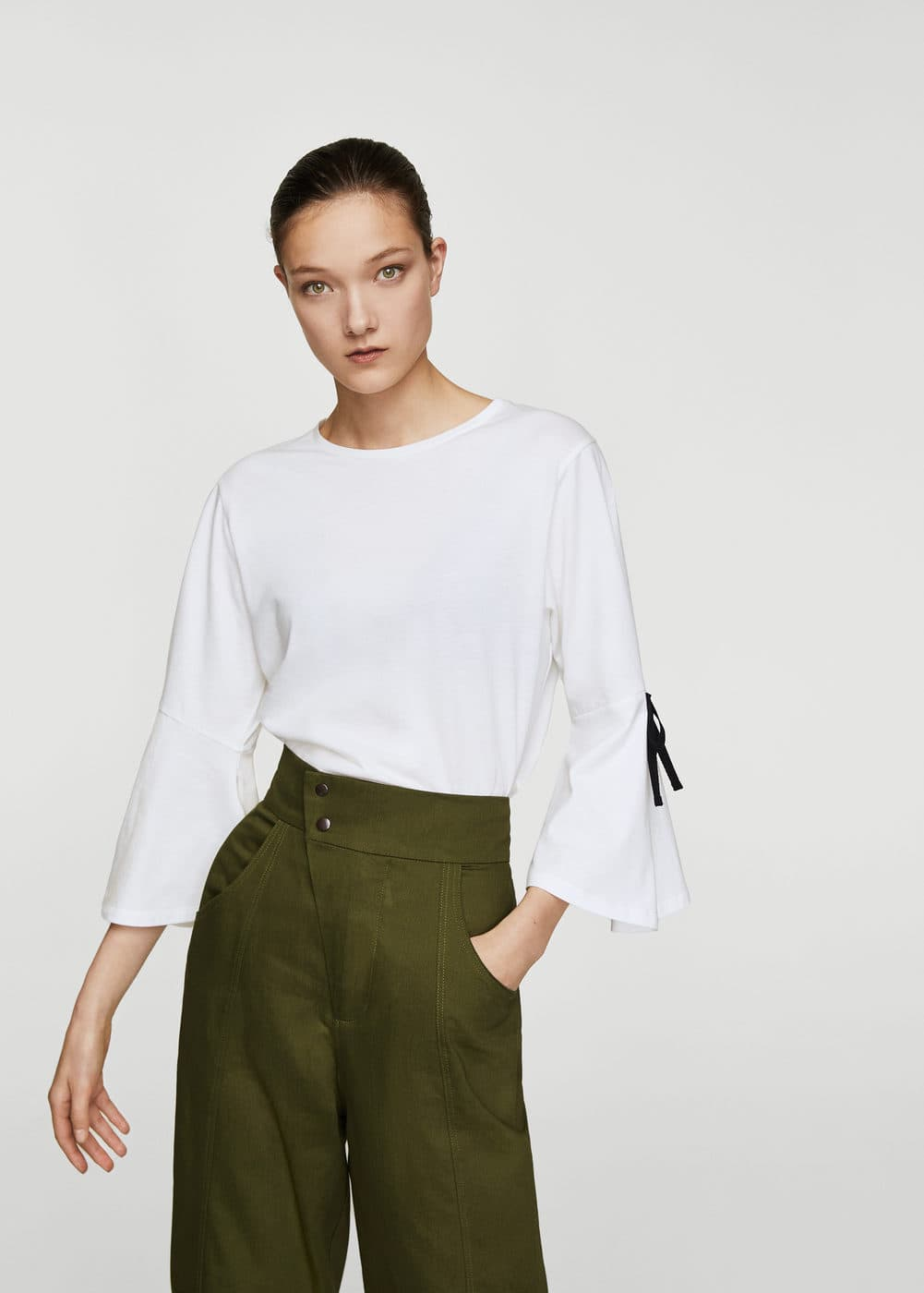 Bow cotton t-shirt | MANGO