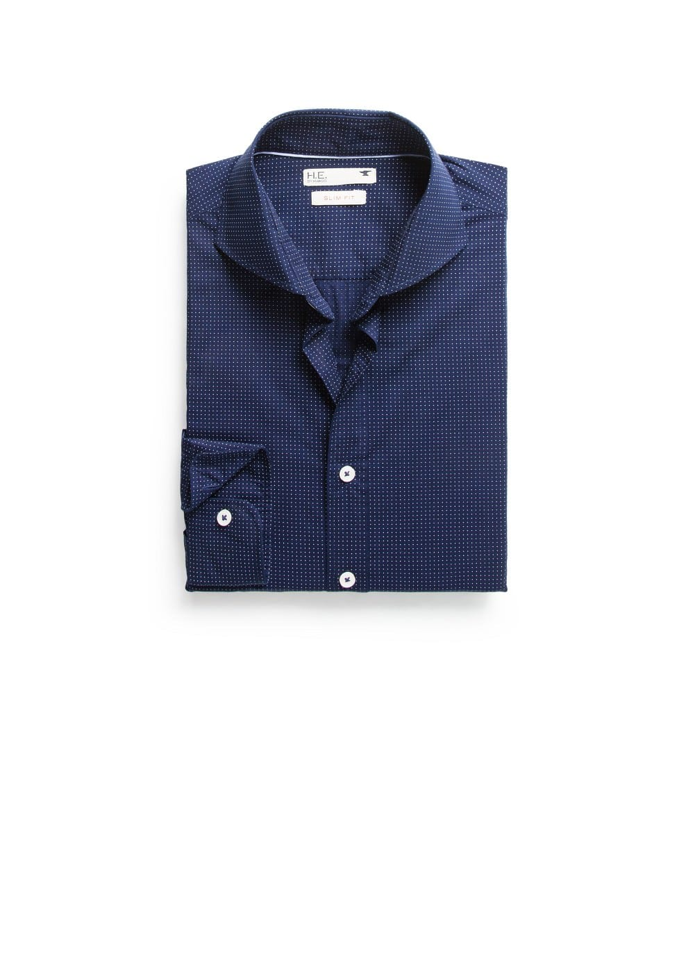 Slim-fit pin-dot shirt | MANGO MAN