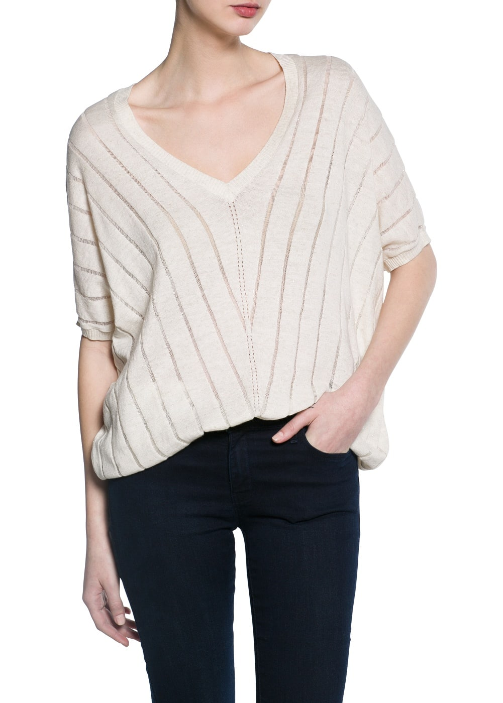 Striped design sweater | MANGO