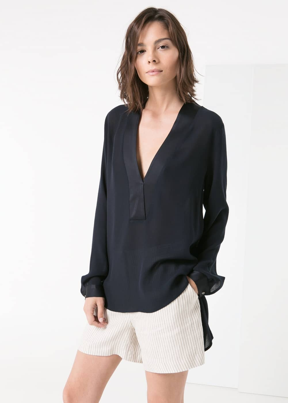 Satin edge blouse | MANGO