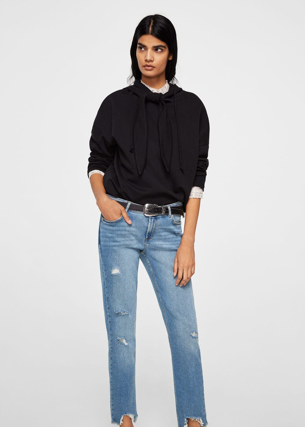 Ripped details slim-fit jeans | MANGO