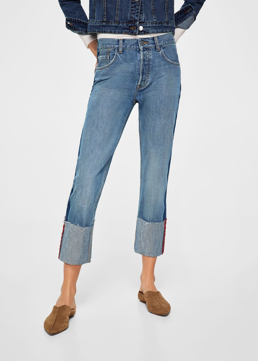 Turn-up hem straight jeans | MANGO