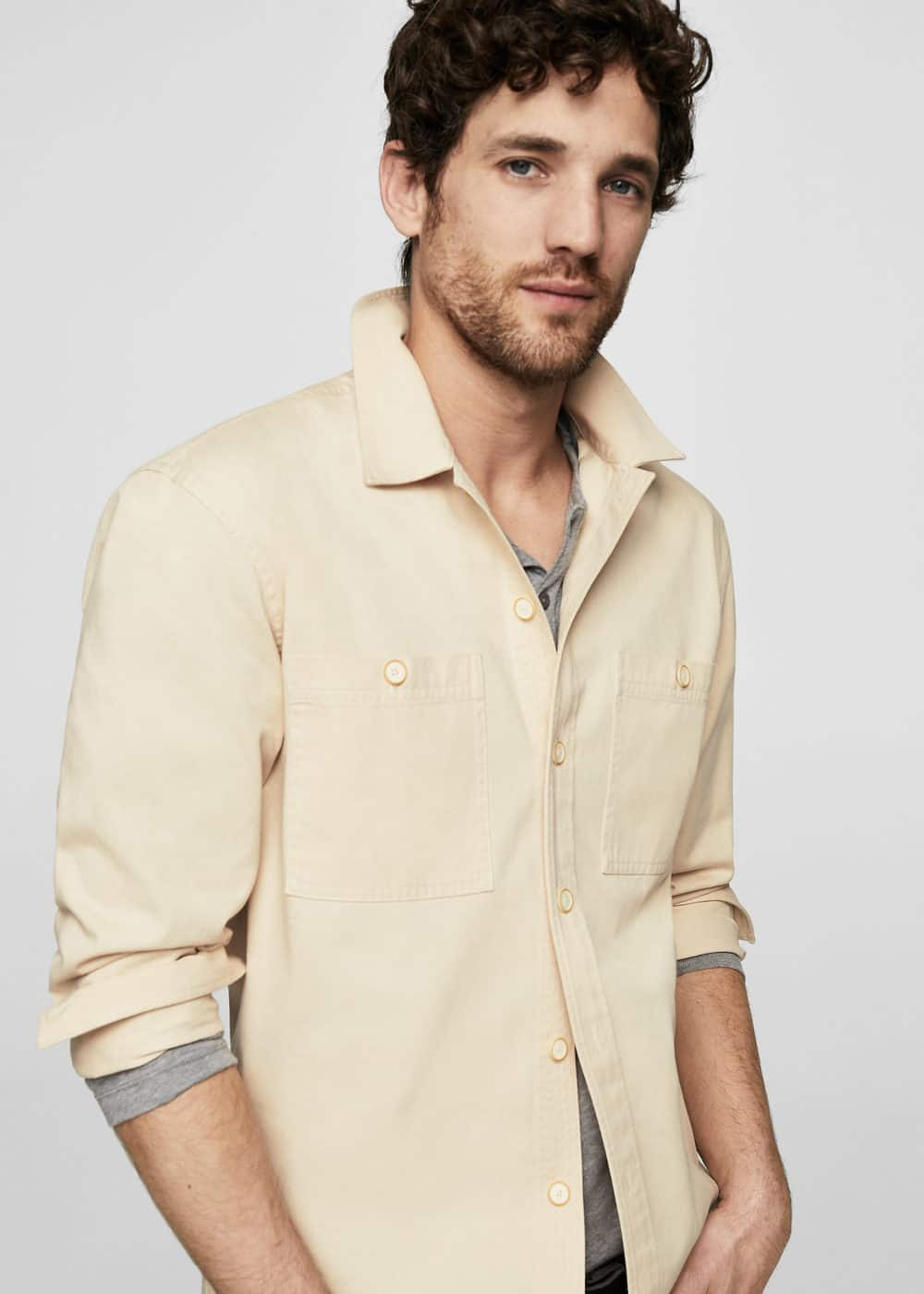 Regular-fit camp-collar shirt | MANGO MAN