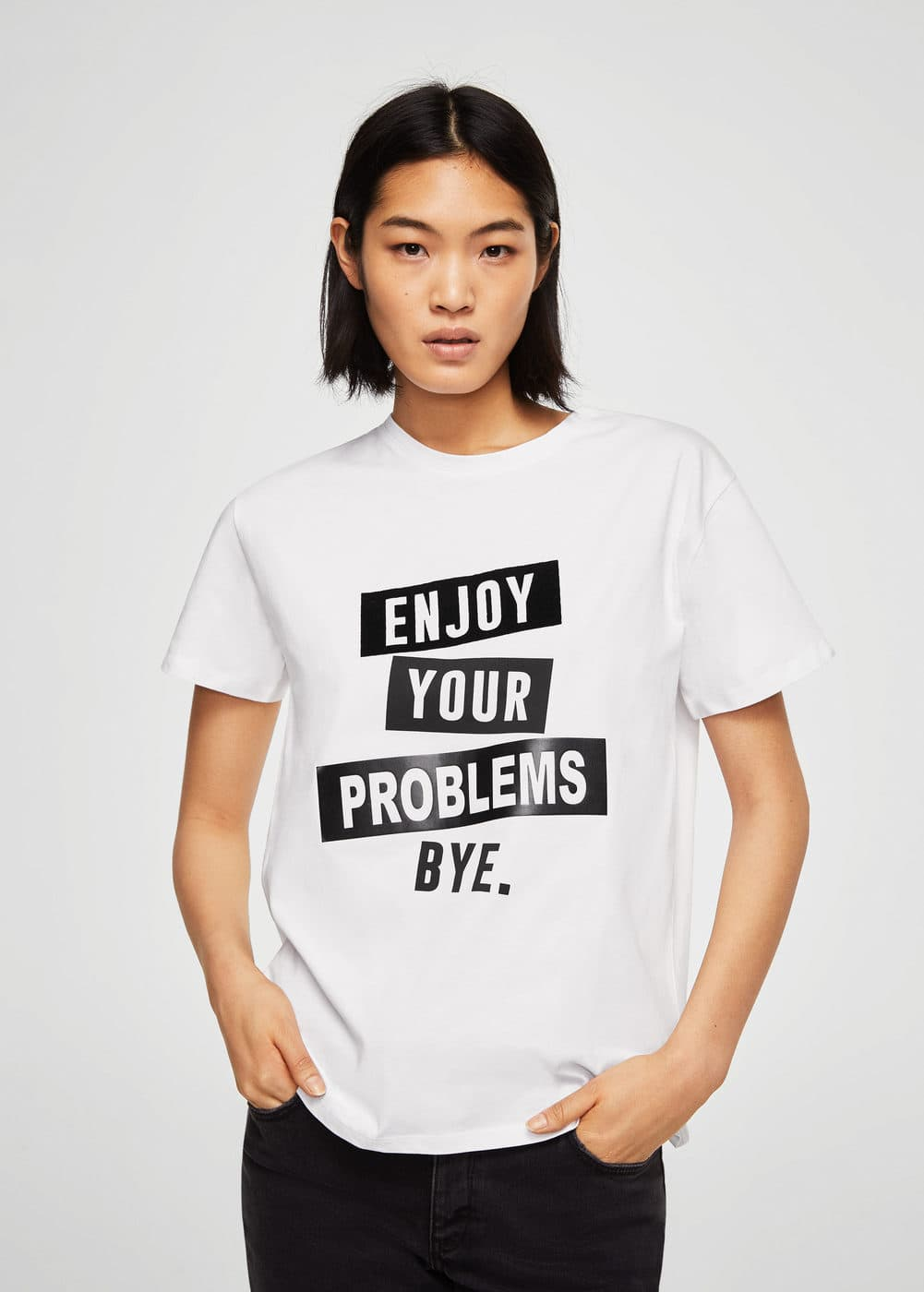 Printed text t-shirt | MANGO