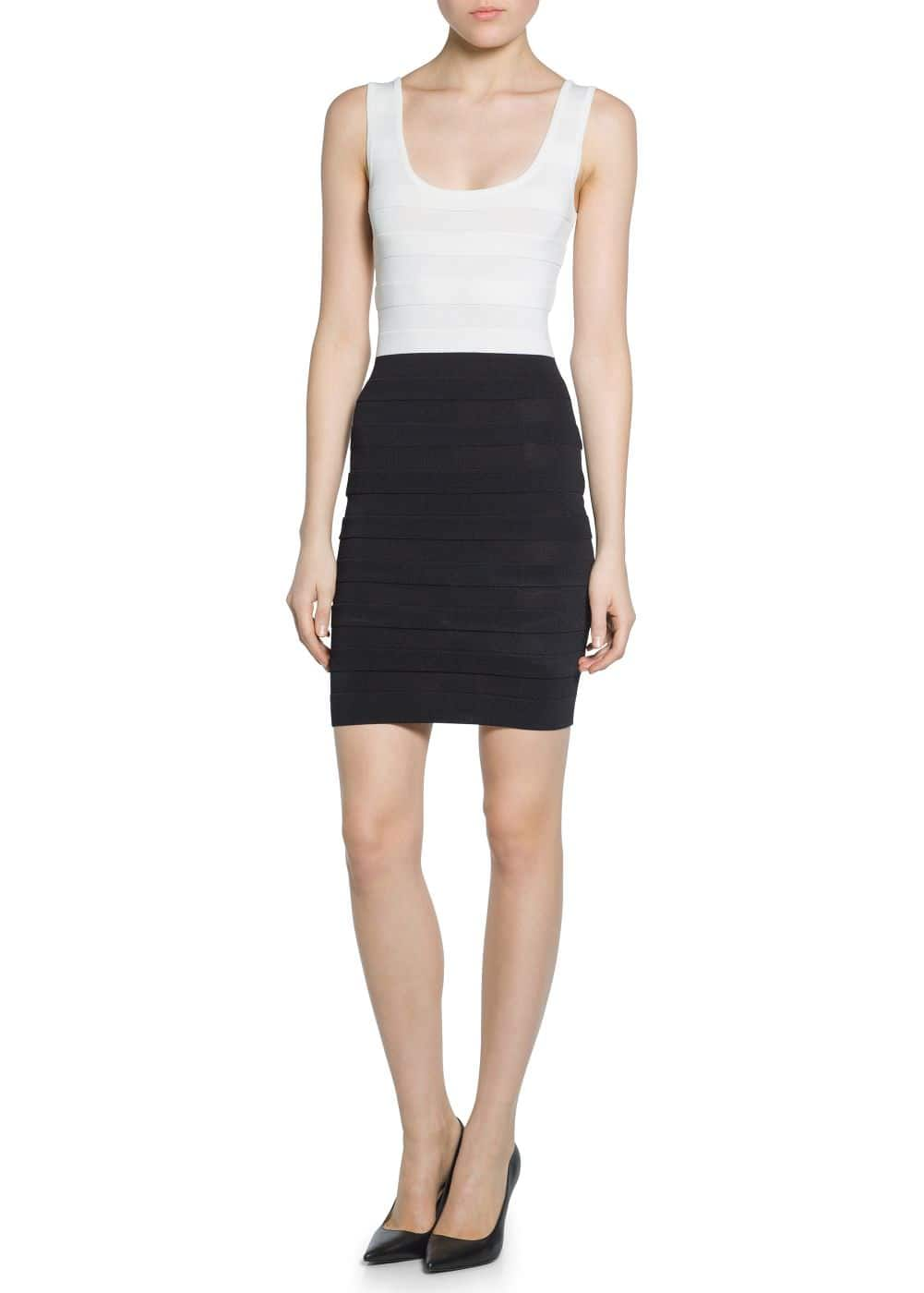 Contrast-bodice bodycon dress | MANGO