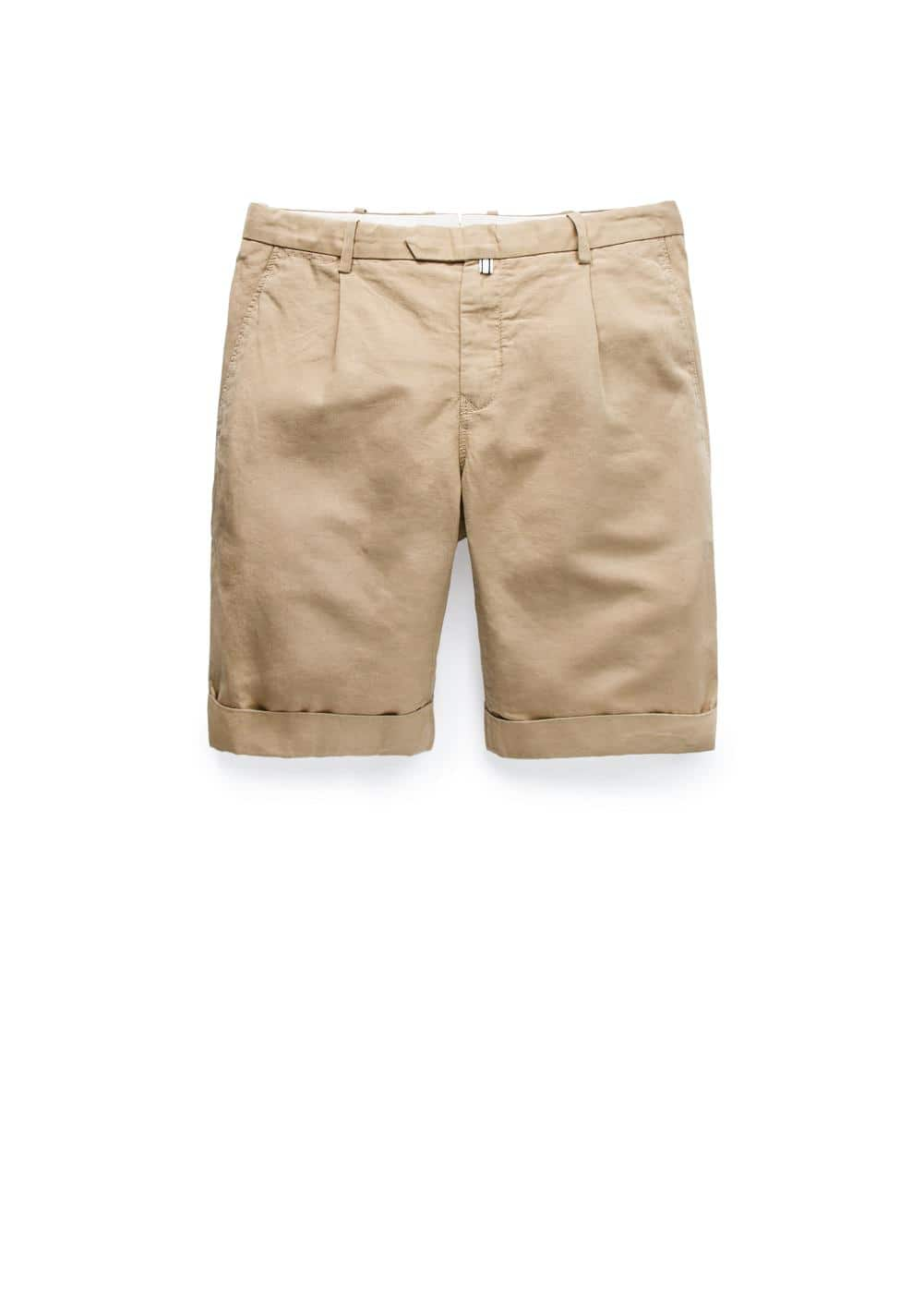 Rolled-up hem cotton linen-blend bermuda shorts | MANGO