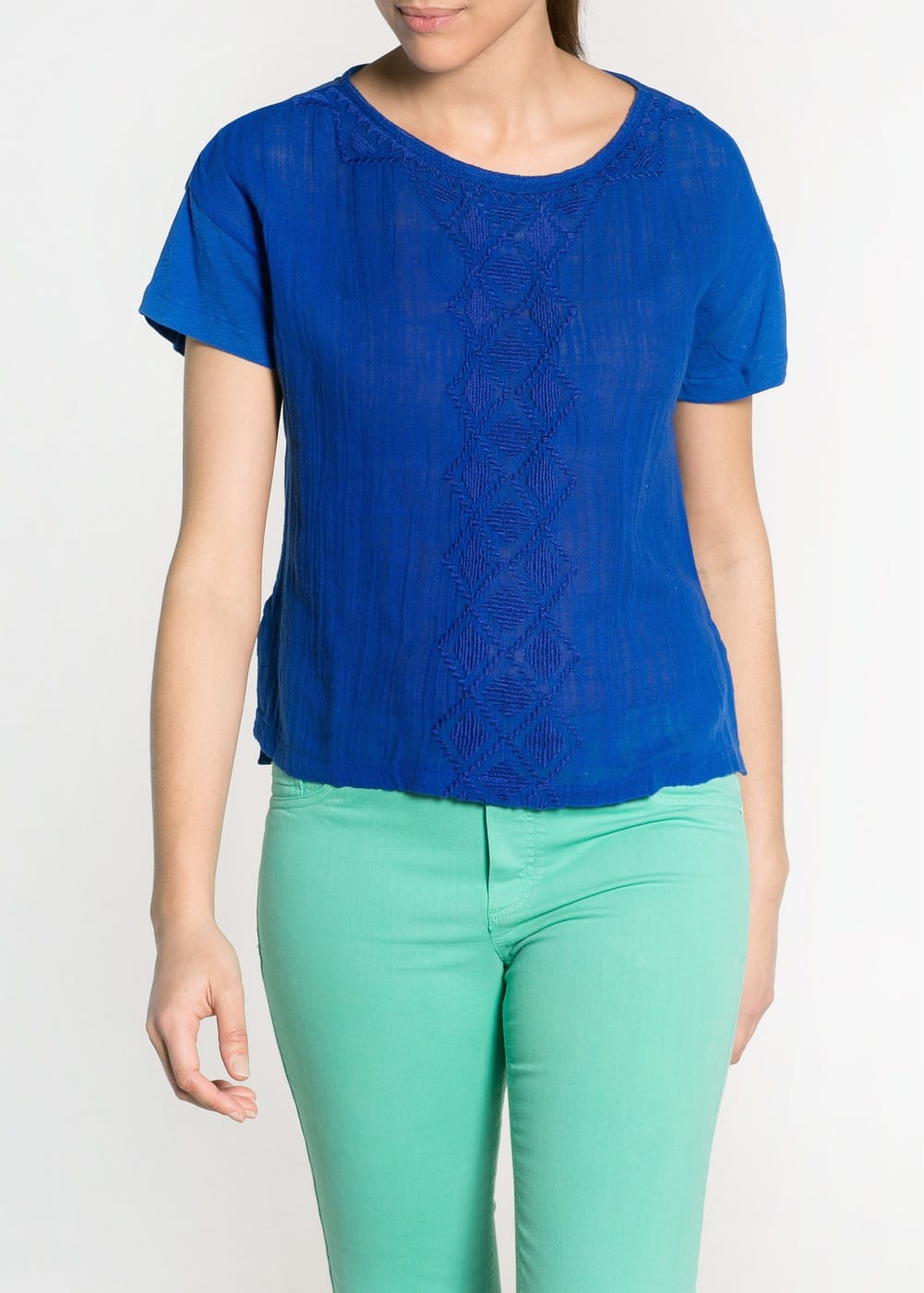 Cotton contrast t-shirt | MANGO