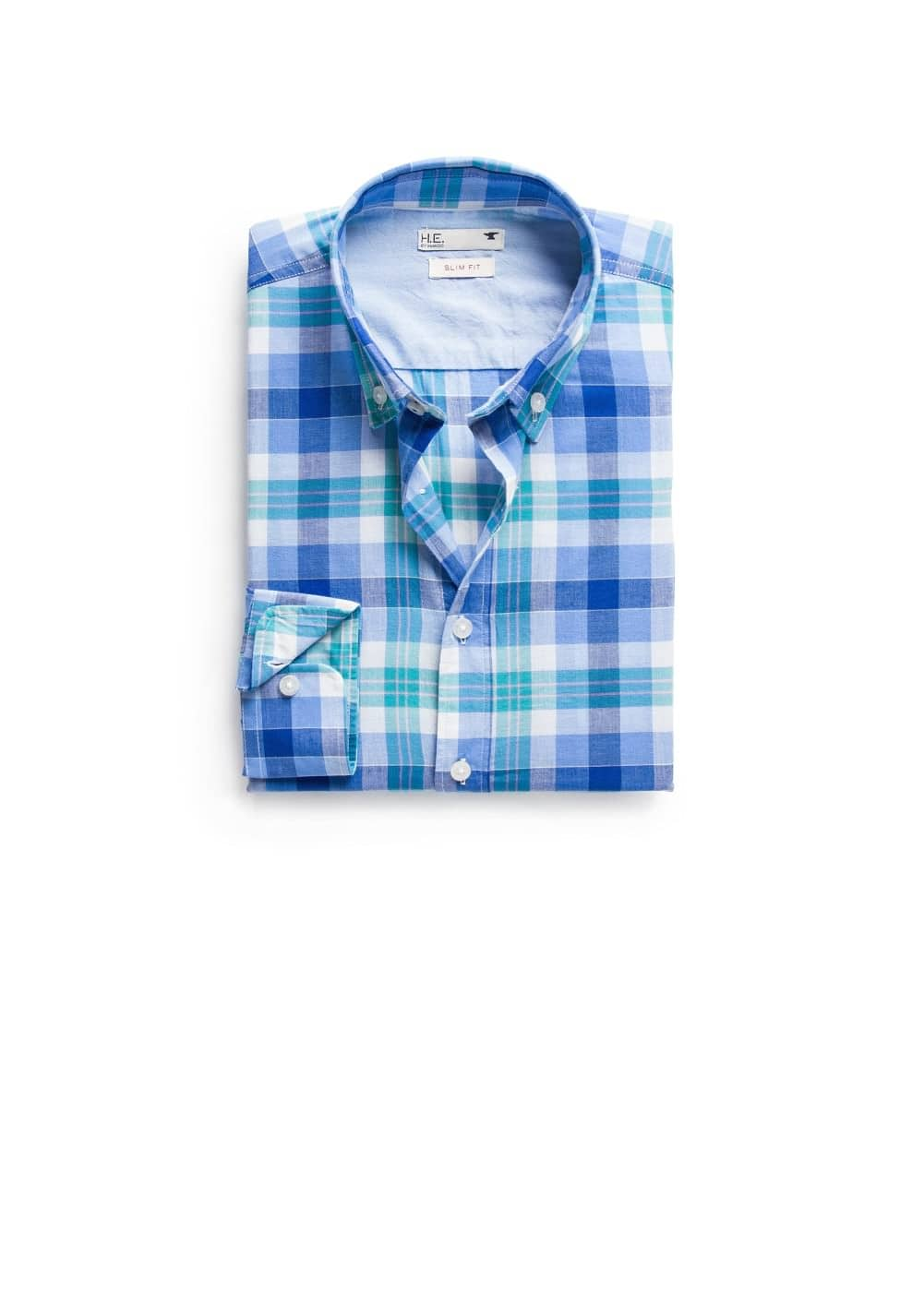 Slim-fit madras-check shirt | MANGO MAN