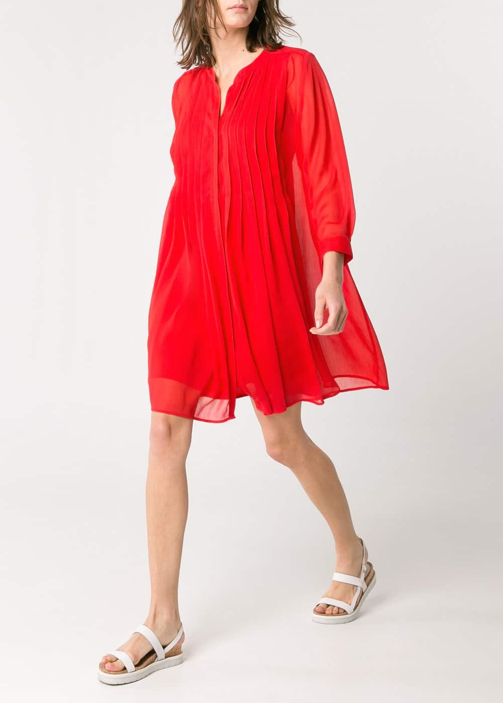 Pleated chiffon dress | MANGO