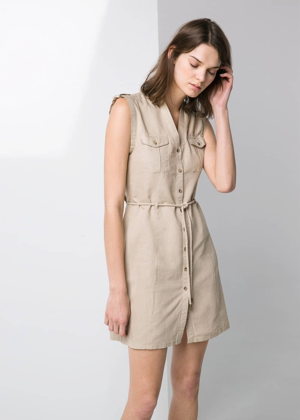 Drawstring shirt dress | MANGO