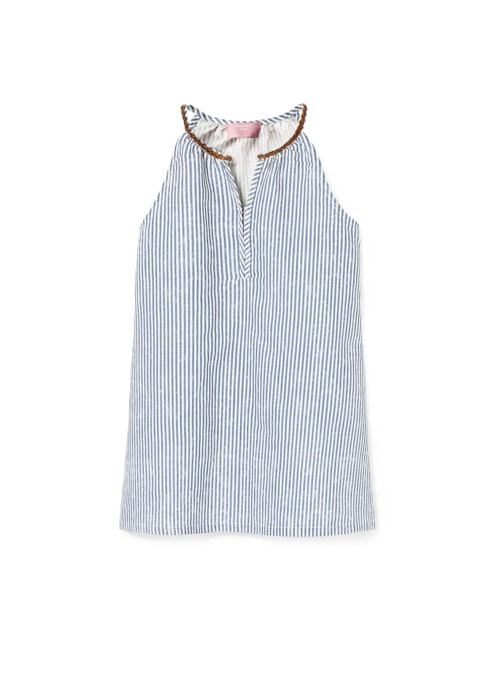 Cord linen-blend dress | MANGO KIDS