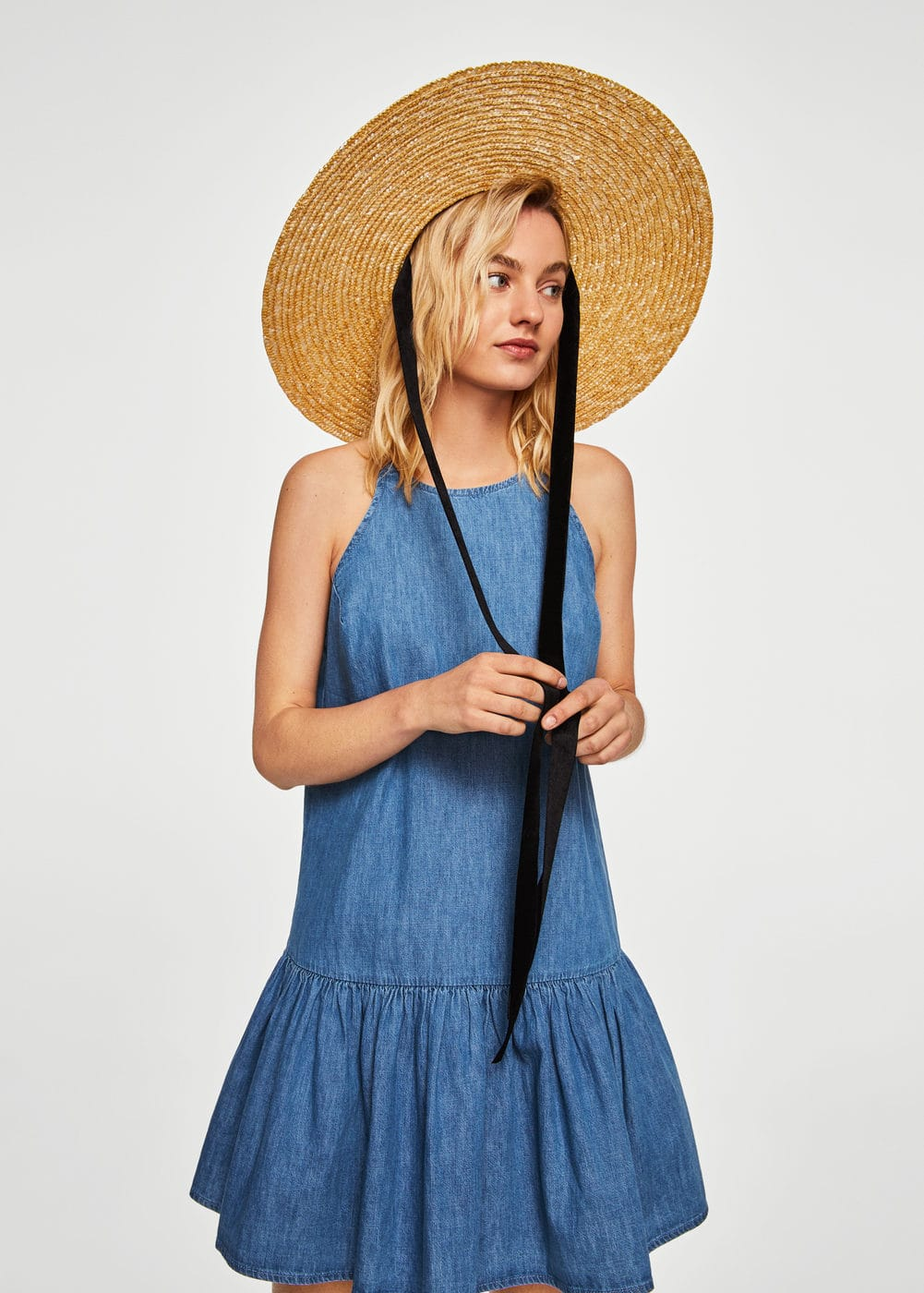 Frilled denim dress | MNG