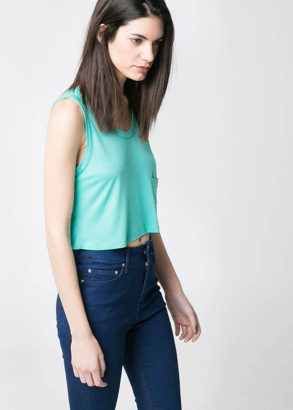 Dropped-pocket cropped top | MANGO