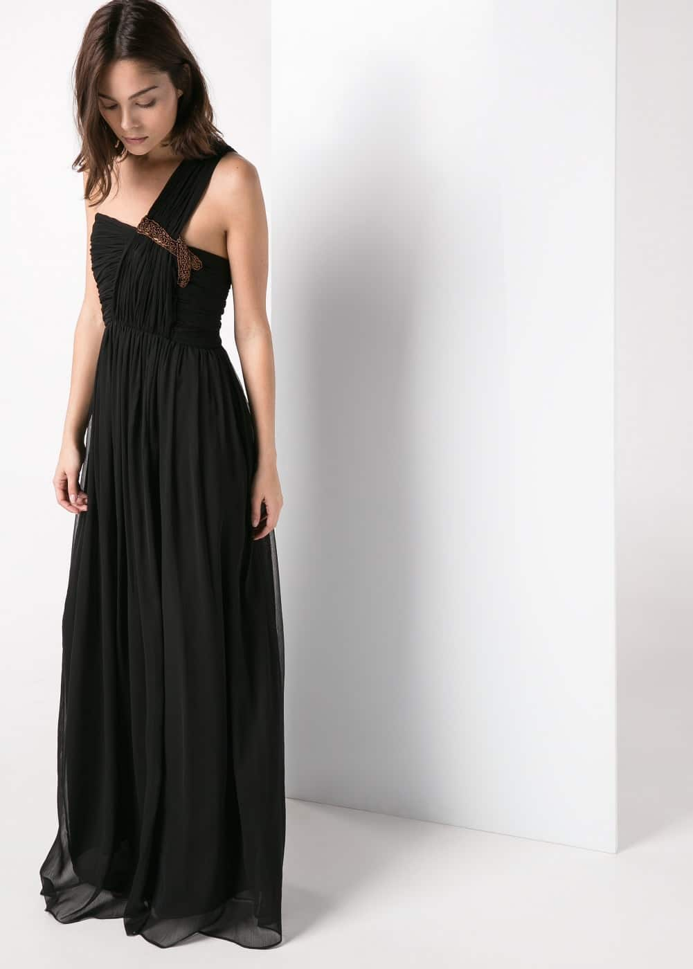 Asymmetric long dress | MANGO