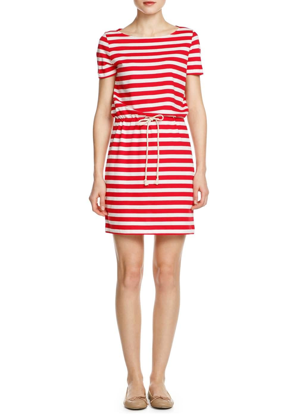 Drawstring striped dress | MANGO