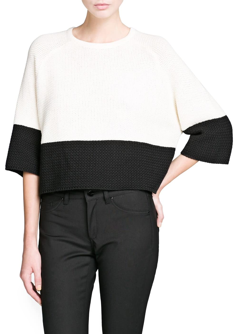 Contrast panel cropped sweater | MANGO