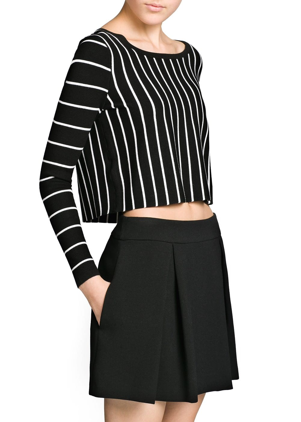 Monochrome striped cropped sweater | MANGO
