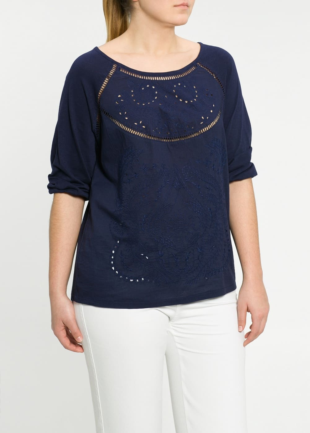 Broderie anglaise t-shirt | MANGO