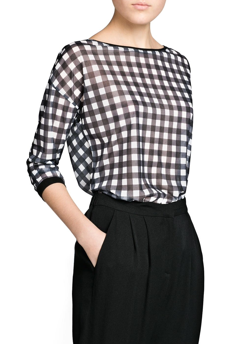 Gingham check t-shirt | MANGO